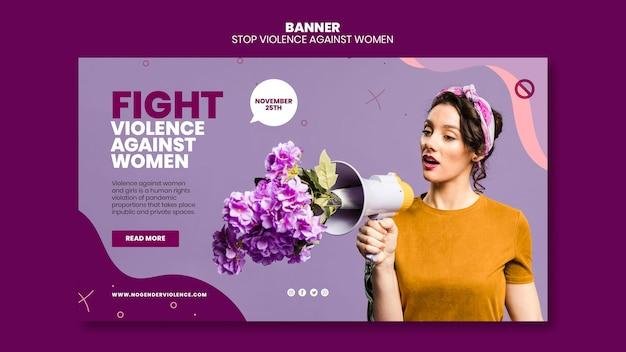 Eliminacja Przemocy Wobec Kobiet Szablon Poziomy Baner Ze Zdjęciem Darmowe Psd