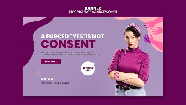 Eliminacja Przemocy Wobec Kobiet Szablon Poziomy Baner Darmowe Psd