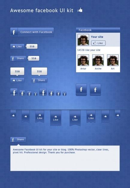Facebook social media ui kit Darmowe Psd