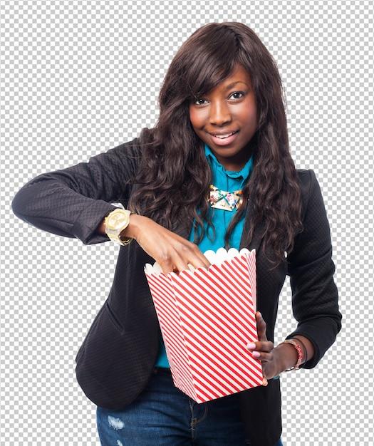 Fajna Czarna Kobieta Z Popcornem Premium Psd
