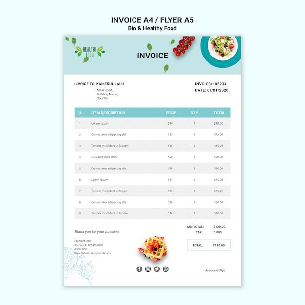 Faktura Z Restauracji Ze Zdrowym Jedzeniem Darmowe Psd