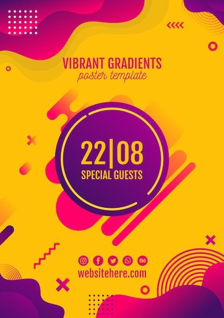 Festiwal muzyki żółty plakat szablon Darmowe Psd