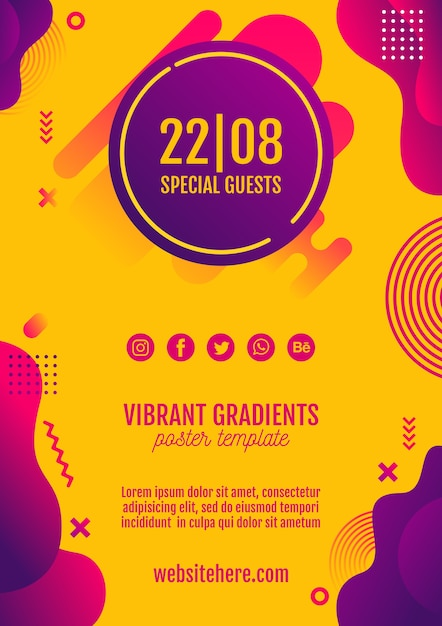 Festiwal Muzyki żółty Plakat Szablon Premium Psd