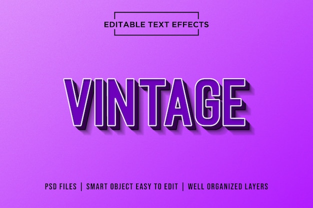 Fioletowe efekty tekstowe premium retro Premium Psd