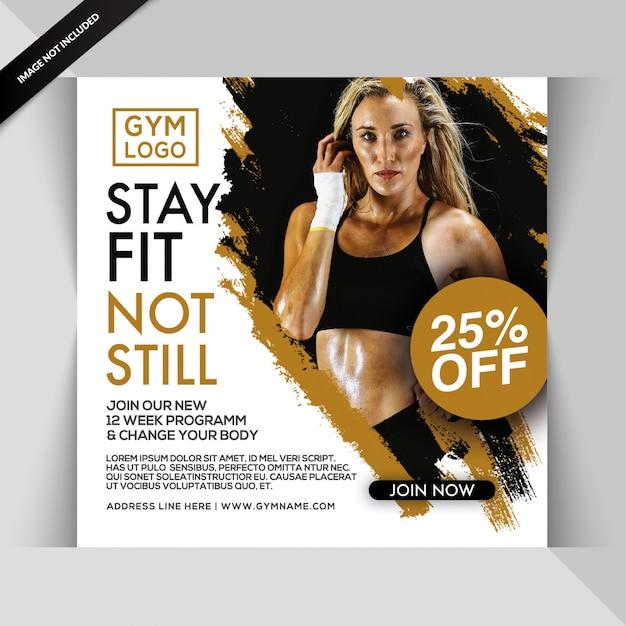 Fitness siłownia instagram post lub kwadratowy szablon ulotki Premium Psd