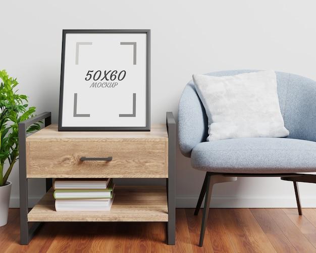 Fotel Drewniany Stół I Pusta Rama W Salonie Renderowania 3d Premium Psd
