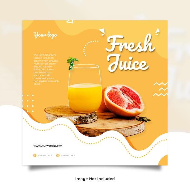Fresh Juice Drink Liquid Memphis Social Media Post Premium Psd