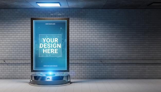 Futurystyczny billboard w brudnej makiety podziemnej stacji metra Premium Psd