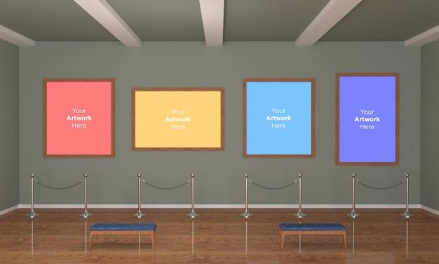 Galeria Sztuki Cztery Ramki Muckup 3d Illustration I Renderowanie 3d Premium Psd
