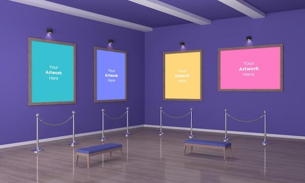 Galeria Sztuki Cztery Ramki Muckup 3d Illustration Widok Narożny Premium Psd