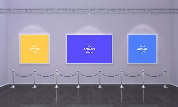 Galeria Sztuki Trzy Ramki Muckup 3d Illustration I Renderowanie 3d Premium Psd