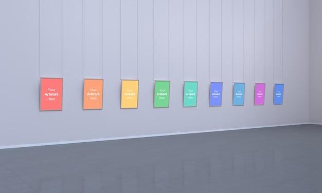 Galeria Sztuki Z Wieloma Ramkami Muckup Ilustracja 3d I Renderowanie 3d Premium Psd
