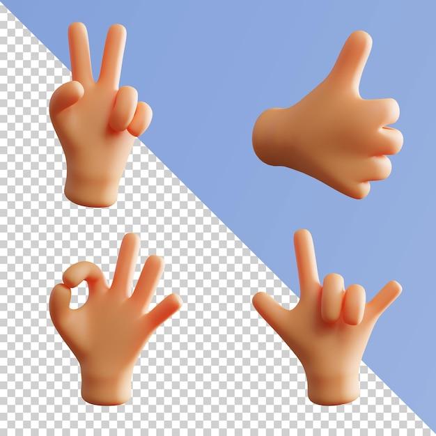 Gest Dłoni śliczne 3d Rendering Fist Metal Rock Pack Premium Psd