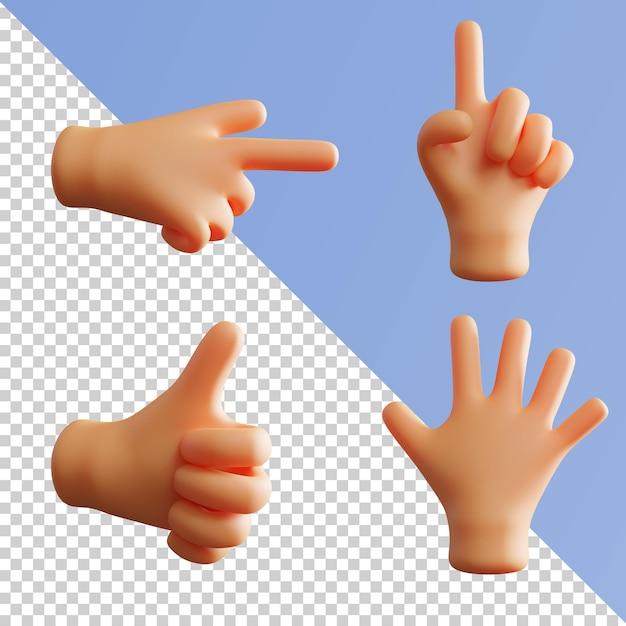 Gest Dłoni śliczne Renderowanie 3d Wskazujące Palec Wskazujący Kciuk W Górę Pakiet Premium Psd