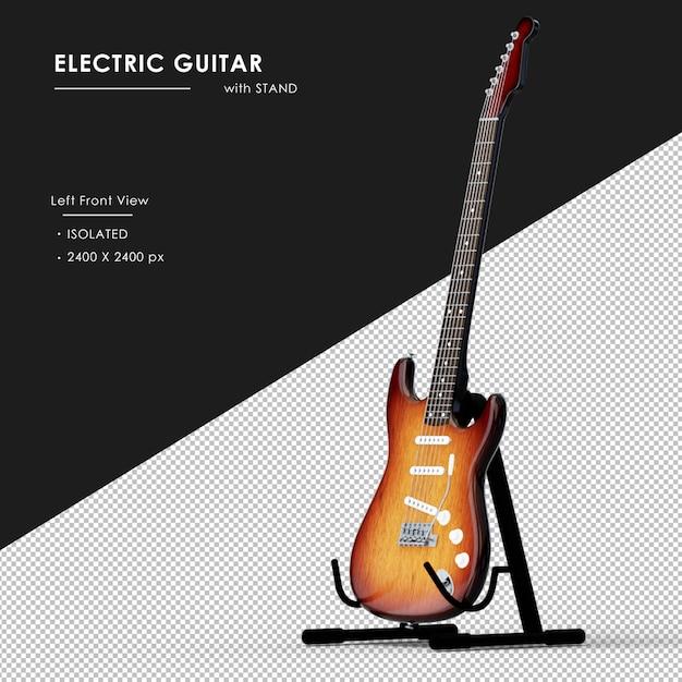 Gitara Elektryczna Ze Stojakiem Od Lewej Widok Z Przodu Premium Psd