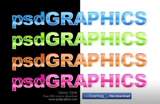 Glossy tekst w stylu photoshop Darmowe Psd