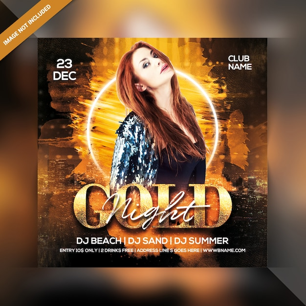 Gold Night Party Flyer Premium Psd