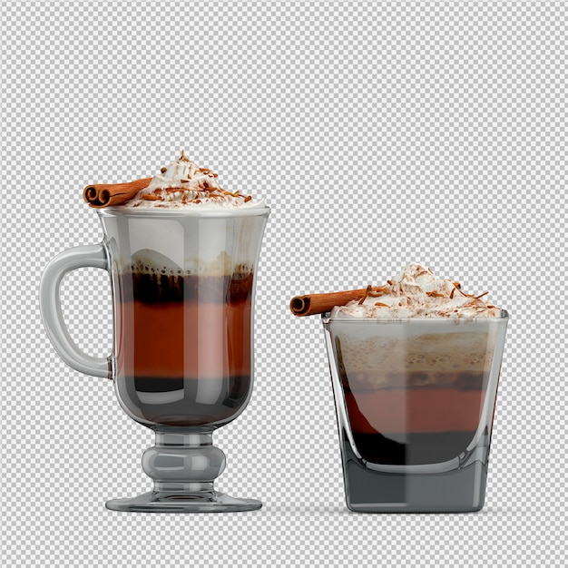 Gorący Render Cappuccino 3d Premium Psd