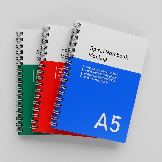 Gotowy Do Użycia Triple Bussiness Hardcinder Spiral Binder A5 Notebook Mock Up Szablon Projektu Ułożone W Widoku Z Góry Premium Psd
