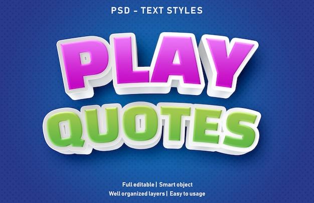 Grać Cytaty Efekty Tekstowe Styl Edytowalny Premium Premium Psd