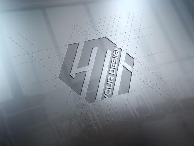 Grawerowane Logo Na Metalowej Płycie Makieta Premium Psd