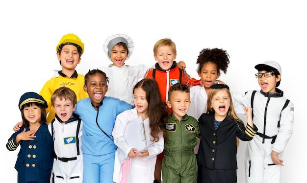 Grupa Szczęścia Urocze I Urocze Dzieci Z Wymarzoną Pracę Premium Psd