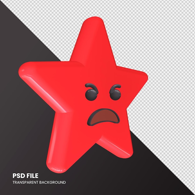 Gwiazda Renderowania 3d Emoji Angry Face Na Białym Tle Premium Psd