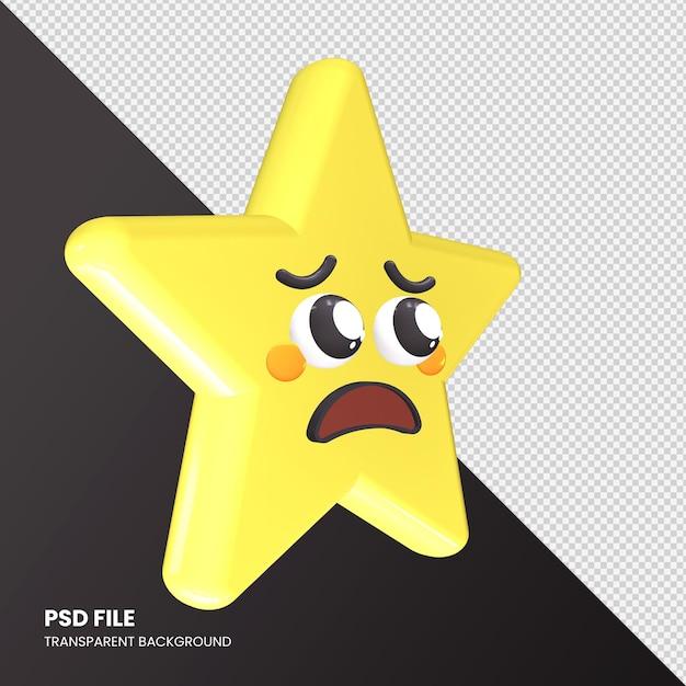 Gwiazda Renderowania 3d Emoji Błagająca Twarz Na Białym Tle Premium Psd
