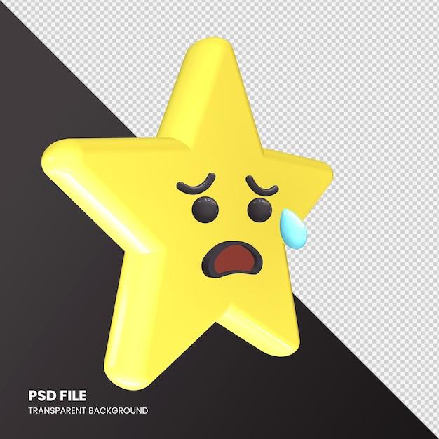 Gwiazda Renderowania 3d Emoji Smutna, Ale Twarz Z Ulgą Na Białym Tle Premium Psd