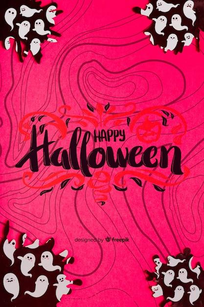 Halloweenowy pojęcia tło z duchami Darmowe Psd