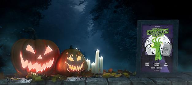 Halloweenowy układ z dyniami i makietą ramy Darmowe Psd