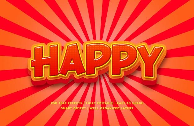 Happy Cartoon 3d Efekt Stylu Tekstu Premium Psd
