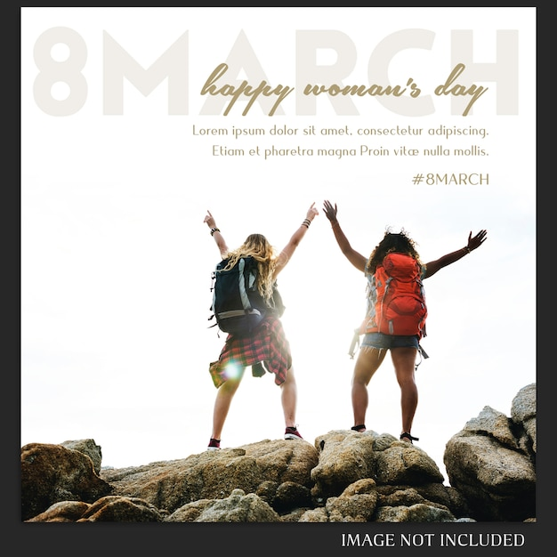 Happy Woman's Day I 8 Marca Greeting Instagram Post Template Premium Psd