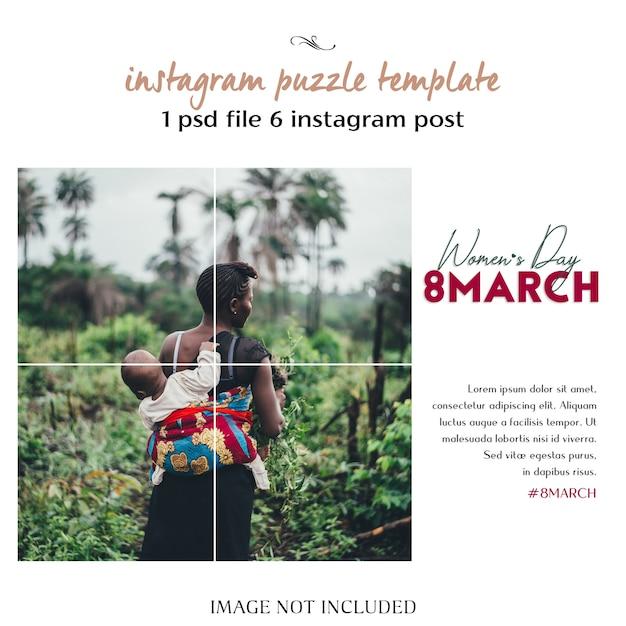 Happy Women's Day I 8 Marca Greeting Instagram Puzzle, Szablon Siatki Lub Kolażu Premium Psd