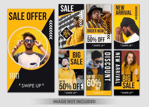 Historia Mediów Społecznościowych Moda żółty Człowiek Szablon Premium Psd