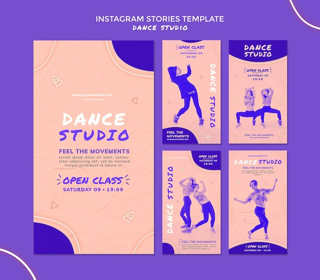 Historie Z Mediów Społecznościowych Studia Tańca Premium Psd