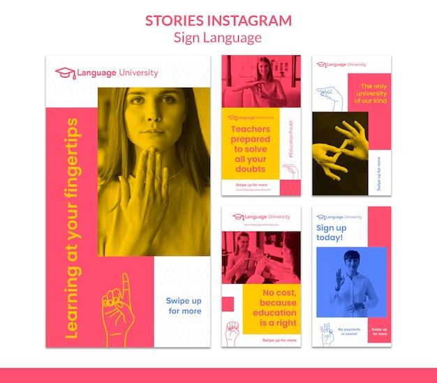 Historie Z Mediów Społecznościowych W Języku Migowym Premium Psd