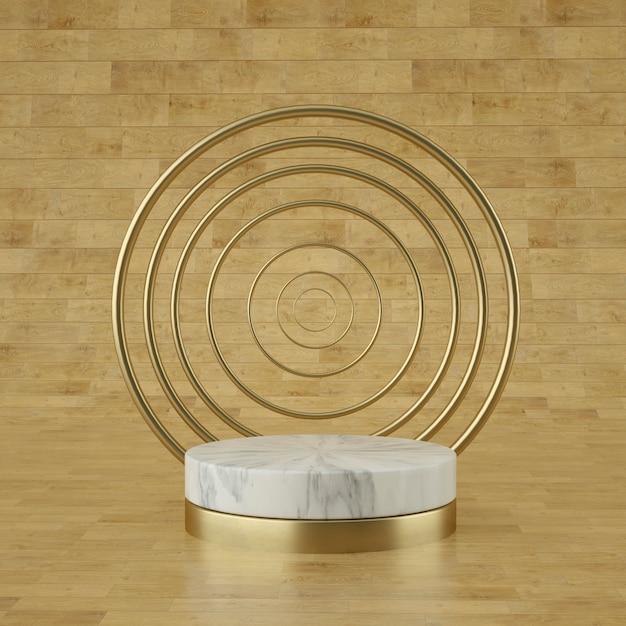 Holograficzna Scena Geometryczna 3d Do Lokowania Produktu Z Tłem Pierścieni I Edytowalnym Kolorem Premium Psd