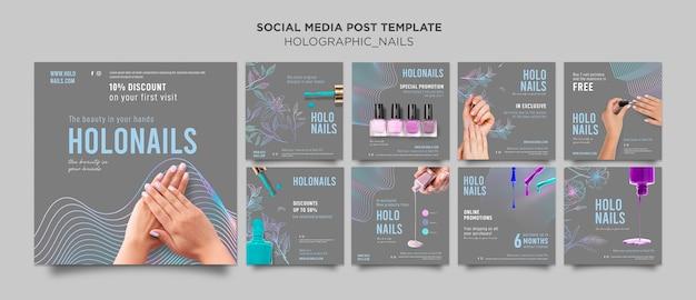 Holograficzne Paznokcie Post W Mediach Społecznościowych Premium Psd