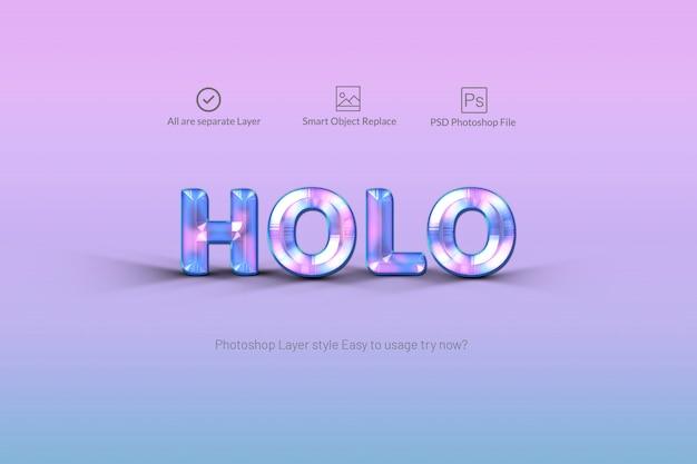 Holograficzny Styl Tekstu Premium Psd