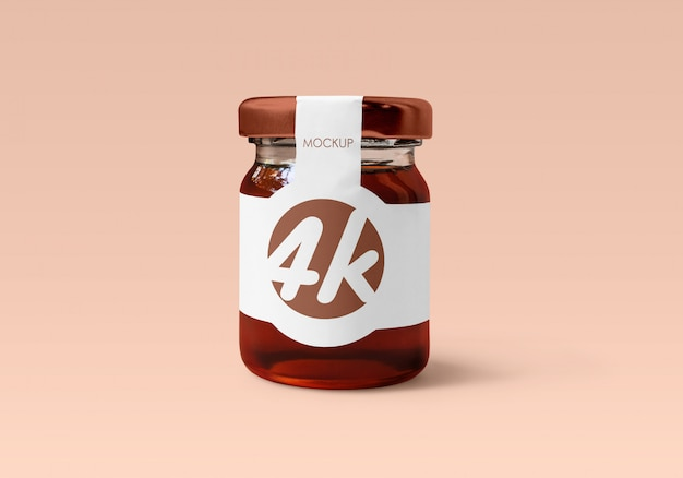 Honey glass jar mockup Premium Psd