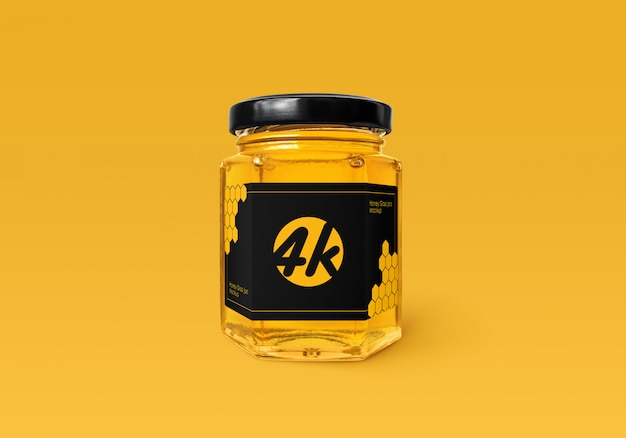 Honey glass jar mockup Premium Psd