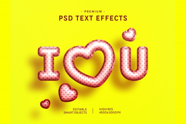 I Love You Valentine Balloon Text Style Effect On Yellow Premium Psd