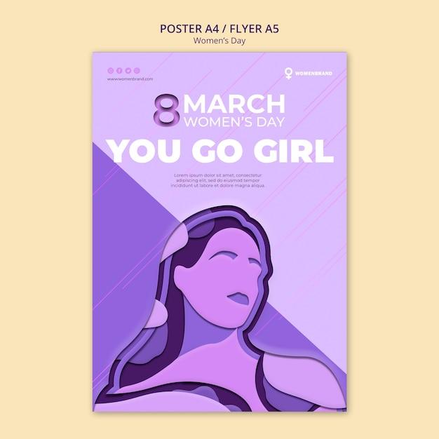 Idziesz Szablon Dziewczyna Dzień Kobiet Plakat Darmowe Psd
