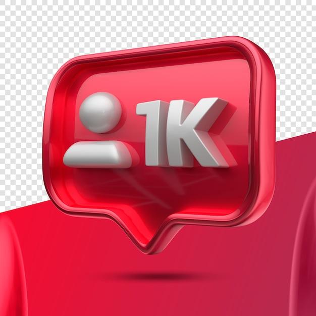Ikona 3d Instagram 1k Obserwujących W Prawo Premium Psd