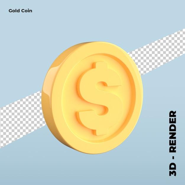 Ikona Kreskówka Złota Moneta Na Białym Tle Premium Psd