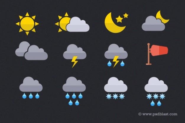 Ikony Pogody Na Płaskiej Stylu Darmowe Psd