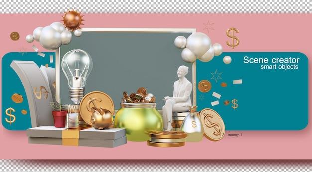 Ilustracja Renderowania 3d żyjących Z Koncepcją Pieniędzy I Ekonomii Premium Psd