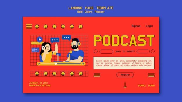 Ilustrowana Strona Docelowa Podcastu Premium Psd