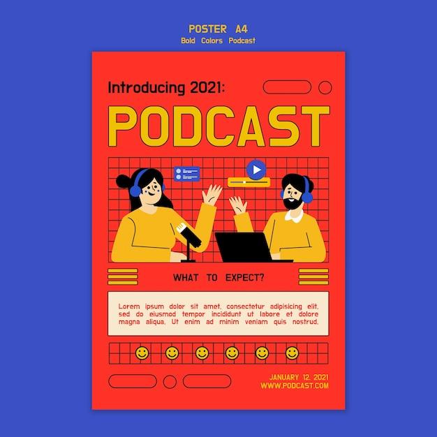 Ilustrowany Szablon Plakatu Podcastu Darmowe Psd